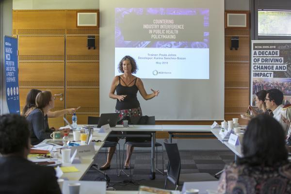 Paula Johns, NCDA Board Member, speaking at NCD Alliance training on TFA elimination on 23 May 2019 in Geneva