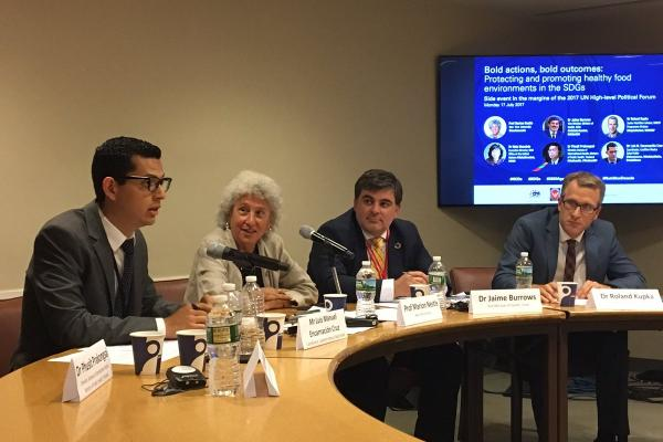 Luis Encarnación Cruz, Marion Nestle, Jaime Burrows & Roland Kupka at a HLPF 2017 side event on healthy food environments and the SDGs