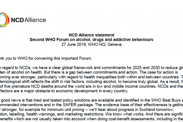NCDA Statement on 2nd WHO Forum on alcohol, drugs and addictive behaviours