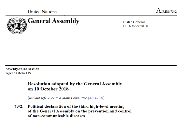 Political declaration of the third high-level meeting of the General Assembly on the prevention and control of non-communicable diseases
