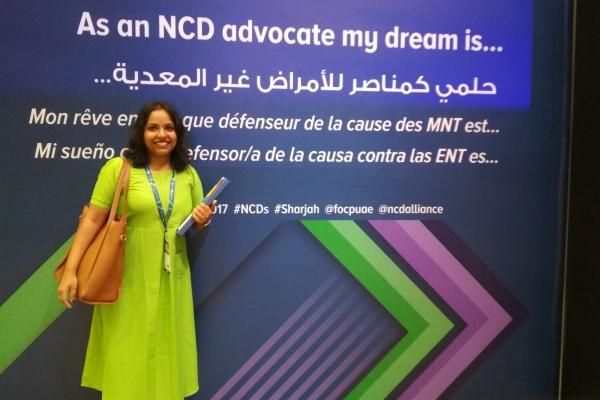 Vindhya Vatsyayan at the 2nd Global NCD Alliance Forum in Sharjah i December 2017
