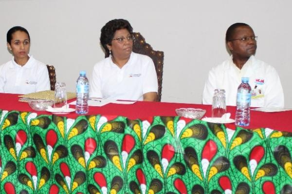 Speakers at the launch of the Mozambique NCD Alliance, on 30 November 2018. (left to right) Dr. Neusa Jessen (AMOCOR), Dr. Nazira Abdula (Mozambican Minister of Health), Dr. Mouzinho Saide (Director, Maputo Central Hospital).