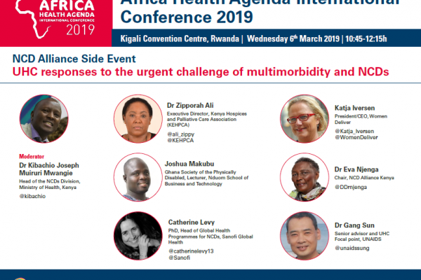 Speakers for the NCD Alliance event, UHC responses to the urgent challenge of multimorbidity and NCDs, at the AMREF Africa Health Agenda International Conference 2019