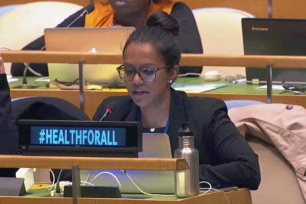 Priya Kanayson, Senior Advocacy Officer, NCD Alliance, delivers a statement at the UN hearing, Monday 29 April 2019.
