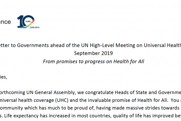 Open Letter to Governments ahead of the UN HLM UHC